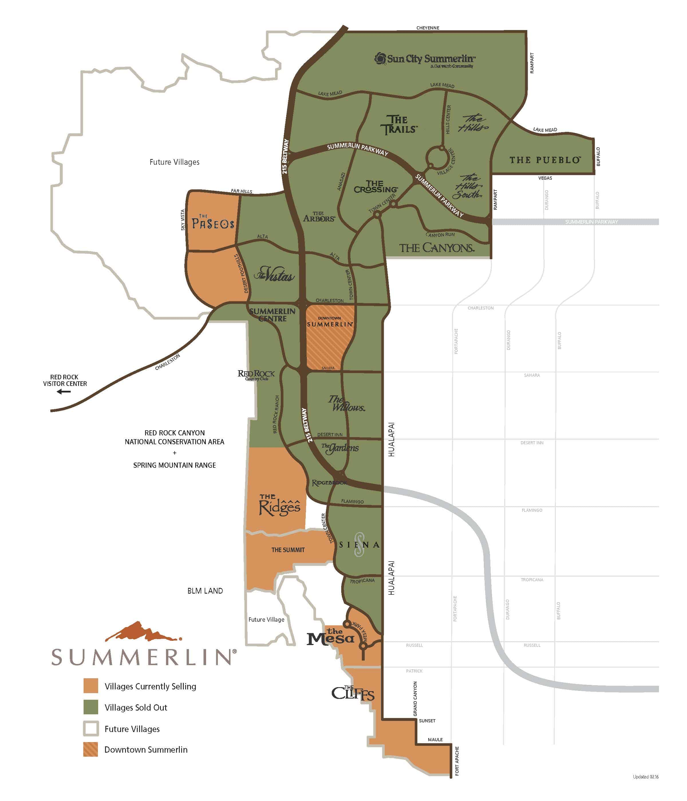 Downtown Summerlin Map on