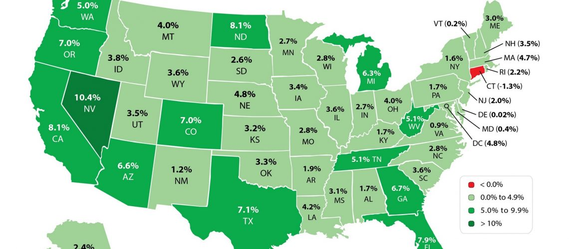 home price changes by state 2015